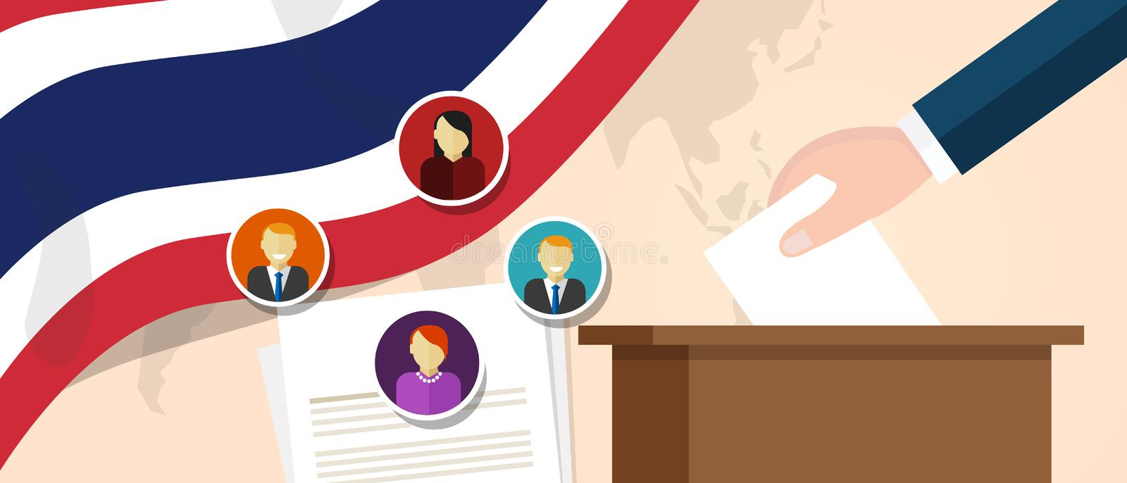 Thailand Thai democracy political process selecting president or parliament member with election and referendum freedom. To vote vector stock illustration