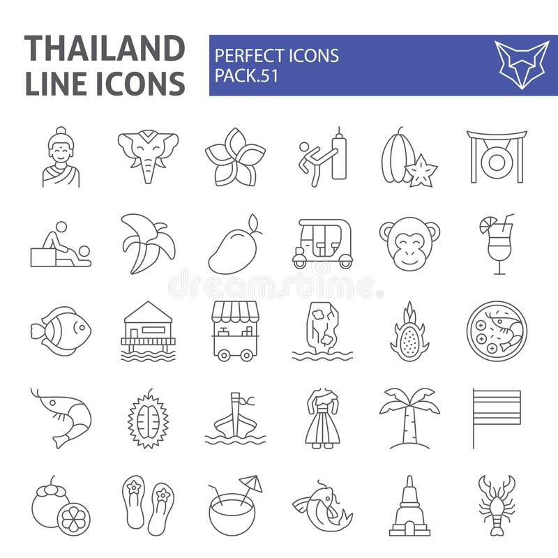 Thailand thin line icon set, thai symbols collection, vector sketches, logo illustrations, asia signs linear pictograms vector illustration