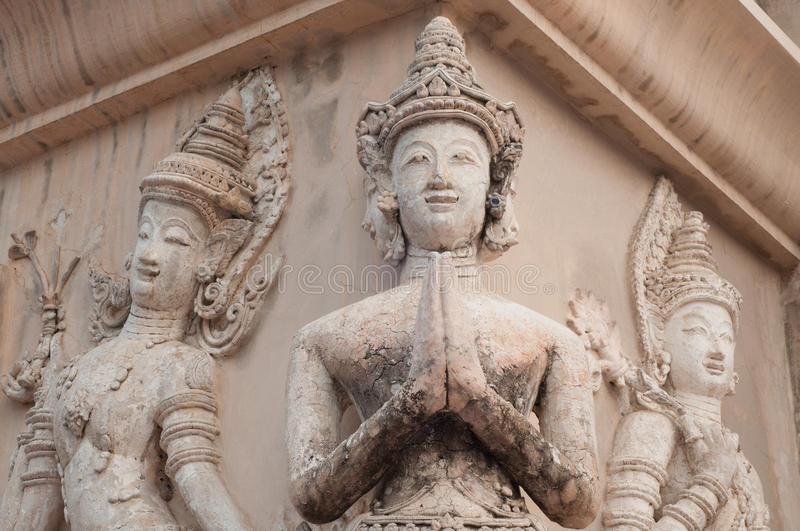 Thailand three Angel sculpture hello sawasdee royalty free stock images