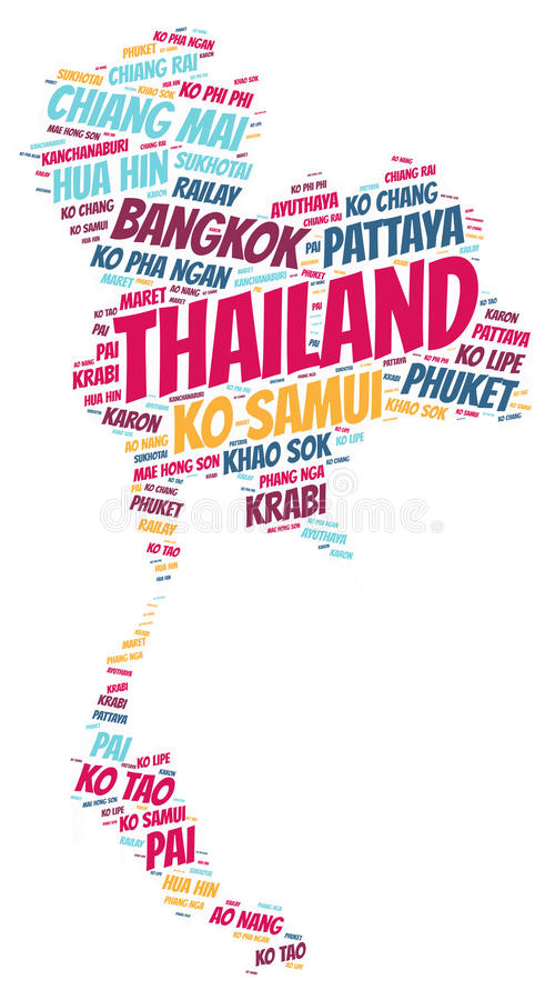 Thailand top travel destinations word cloud. Thailand map silhouette word cloud with most popular travel destinations vector illustration