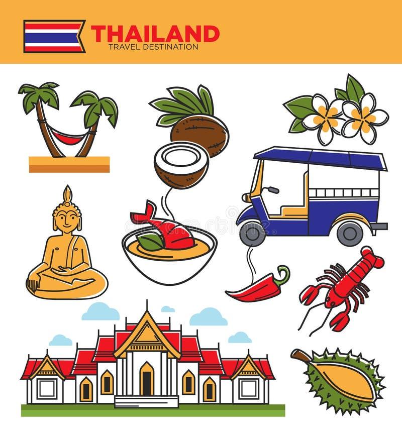 Thailand-Tourismusreisemarksteine und berühmte Symbole des thailändischen Kulturtouristen vector Ikonen lizenzfreie abbildung