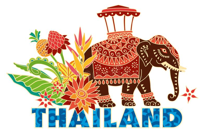Decorative Vector Elephant With Flowers Stock Vector ...