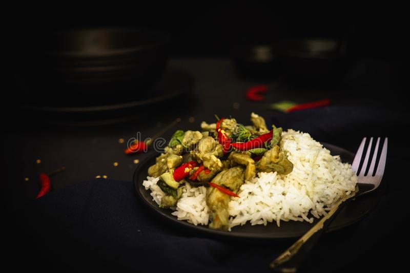 Thailand traditional cuisine, Green curry, Chicken curry, rice, street food, spicy curry stock photo