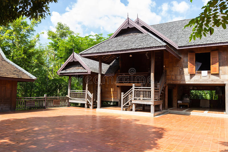 Thailand traditional old wooden house stock photo image for Free thai house plans
