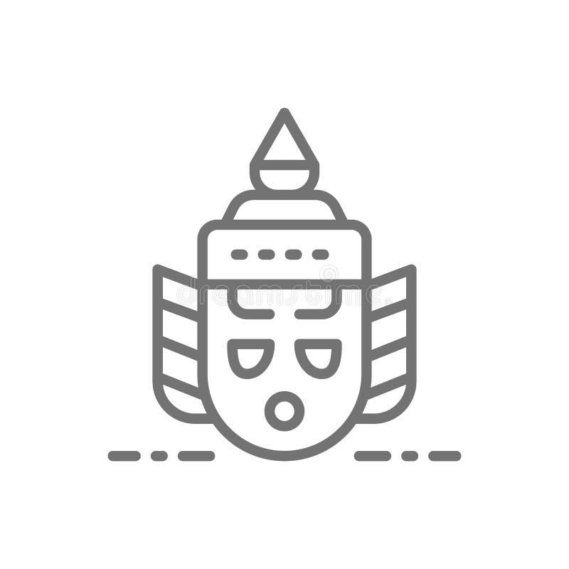 Thailand traditionell Khon teatermaskering, Ravana huvudlinje symbol stock illustrationer