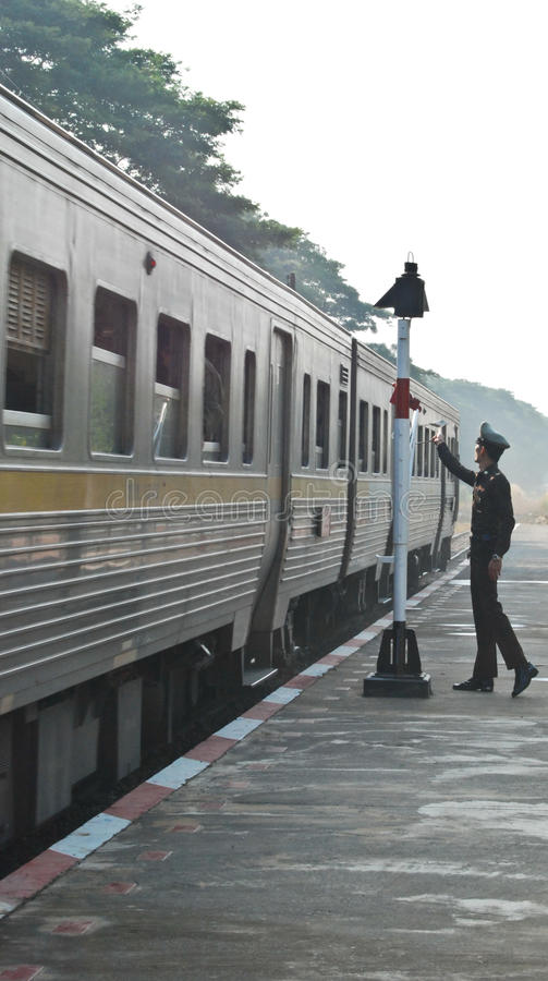 thailand train are running on the rail way stock photos