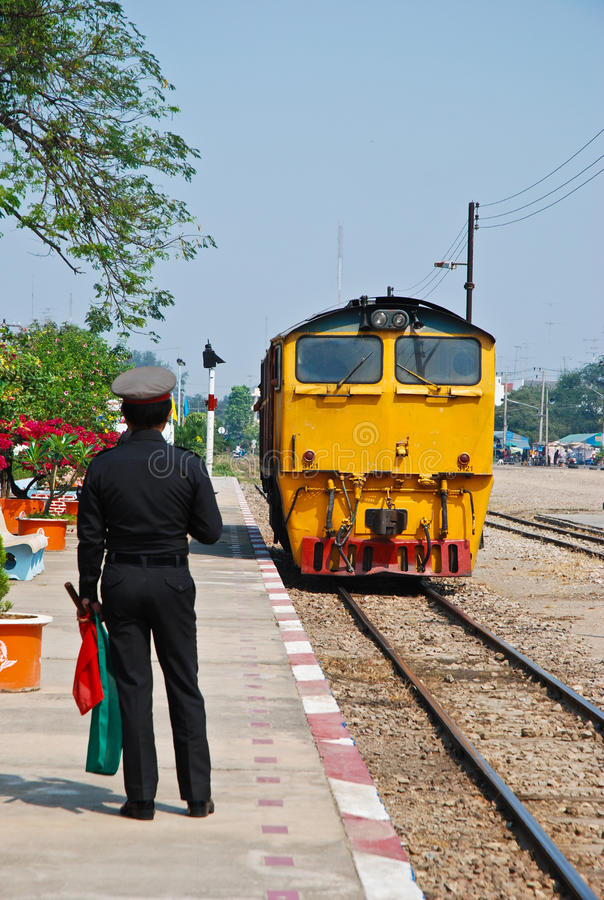 The thailand train are running on the rail way. At the station stock photos