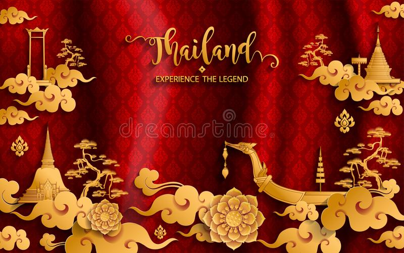 Thailand travel concept Most Beautiful Places . Thailand travel concept The Most Beautiful Places To Visit In Thailand in flat style royalty free illustration