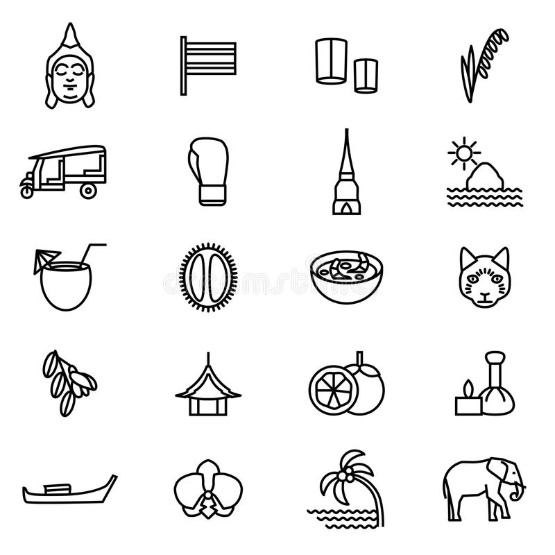 Thailand Travel and Tourism Black Thin Line Icon Set. Vector. Thailand Travel and Tourism Black Thin Line Icon Set Include of Elephant, Boat, Boxing, Pagoda royalty free illustration