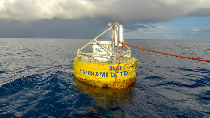 Thailand tsunami detection buoy floats in the Andaman sea royalty free stock image
