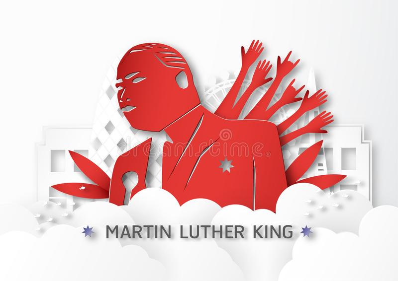 Thailand, Udonthani - January 16, 2019 : Happy Martin Luther King Jr. Day with paper cut and craft style. Vector illustration for royalty free illustration