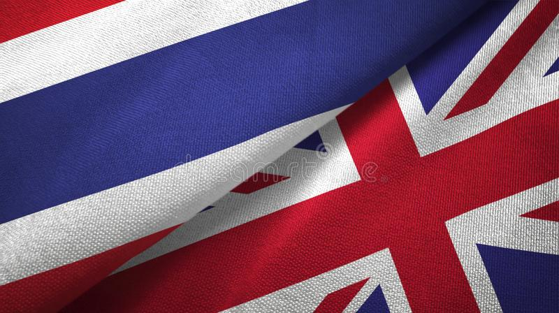 Thailand and United Kingdom two flags textile cloth, fabric texture. Thailand and United Kingdom flags together textile cloth, fabric texture vector illustration
