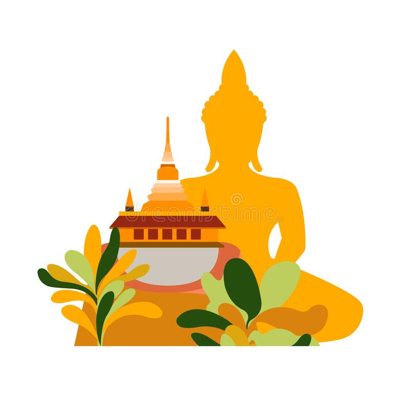 Free Thailand. View From Bangkok Temples And Buddha In Green Tropical Trees. Travel Poster Stock Photography - 214314362