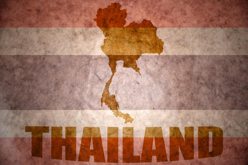Thailand vintage map. Thailand map on a vintage thai flag background royalty free stock images