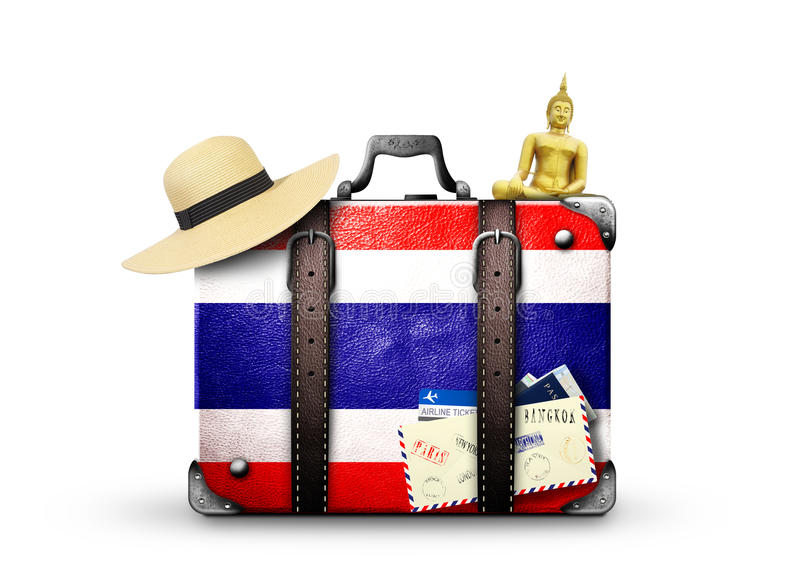 Thailand. Vintage suitcase withThai flag royalty free stock images