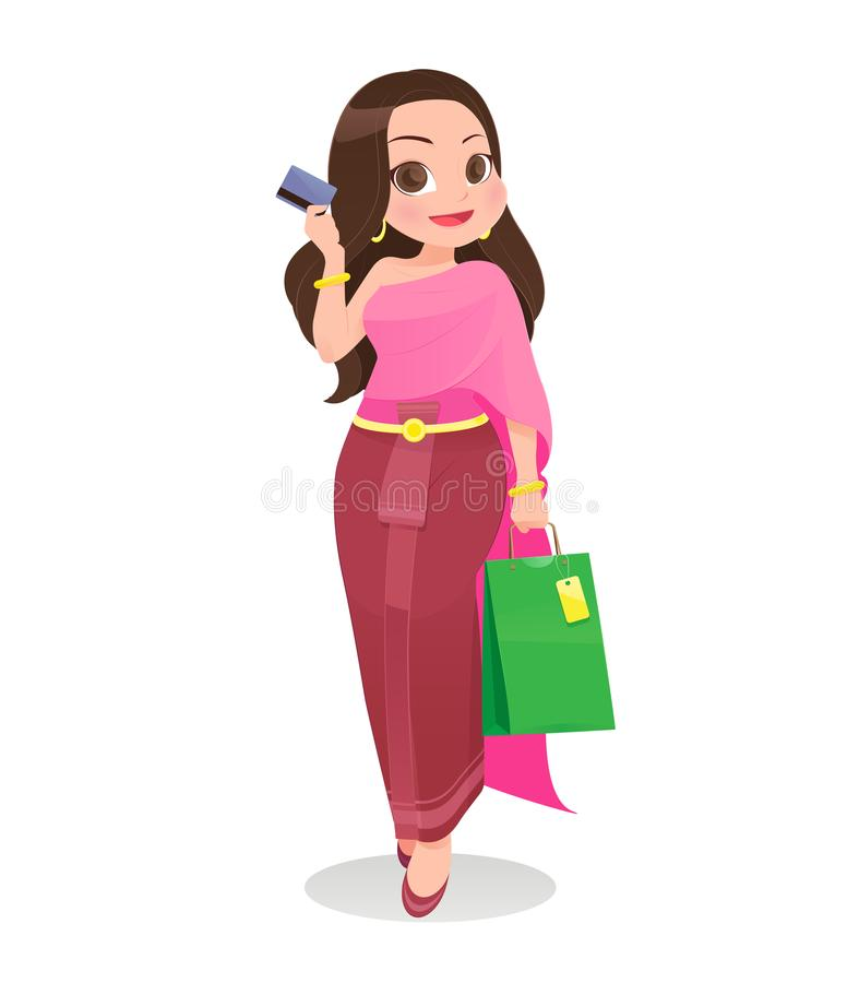 Thailand woman shopping with credit card against white Background, Cartoon, Vector illustration stock illustration