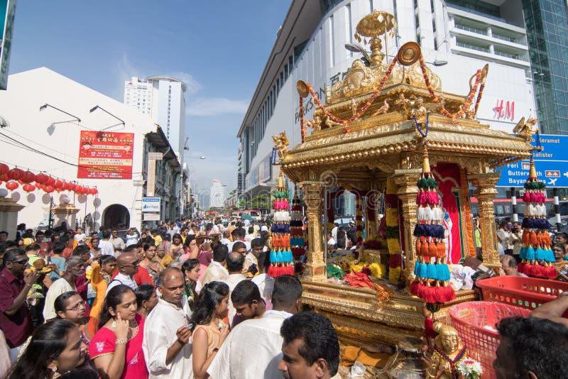 Thaipusam festival på Georgetown, Penang, Malaysia arkivfoto
