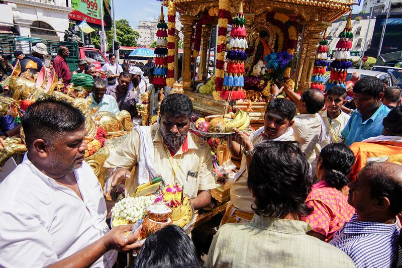 Thaipusam festival på Georgetown, Penang, Malaysia royaltyfria bilder