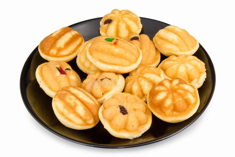 Thais dessert de rozijn van de eicake op de schotel stock afbeeldingen