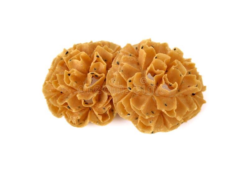 Thais dessert Knapperige Lotus Blossom Cookie of Dok Jok op wit royalty-vrije stock foto