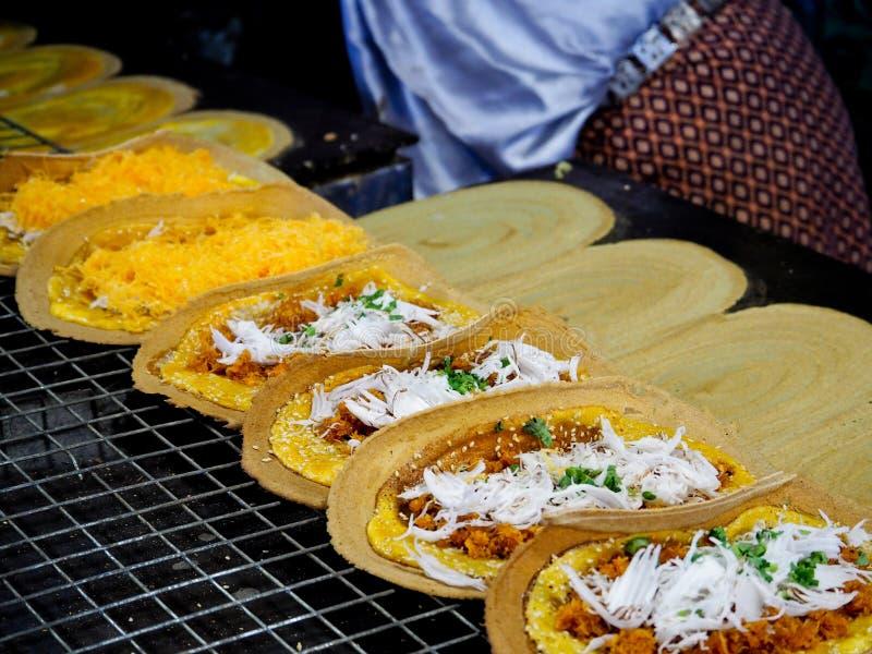 Thais dessert, Thaise Knapperige Pannekoek stock foto's