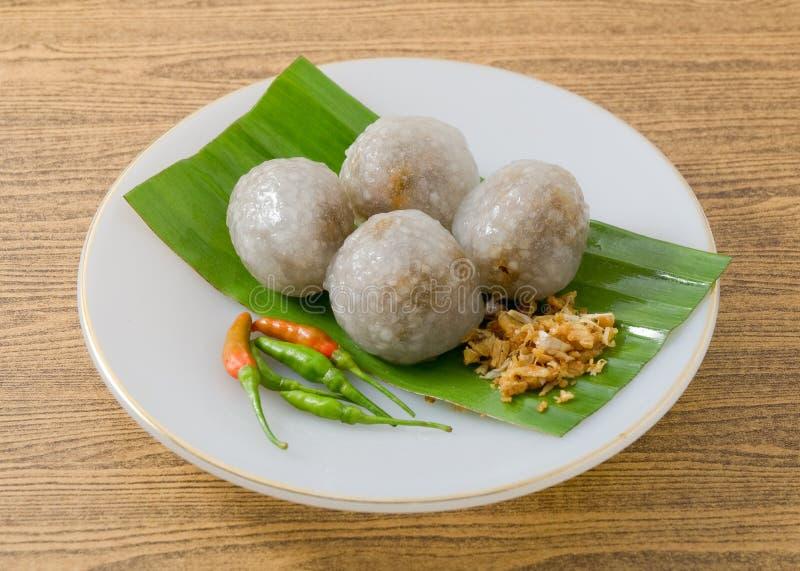 Thais die Dessert van Tapiocaballen met Fijngehakt Varkensvlees worden gevuld royalty-vrije stock fotografie