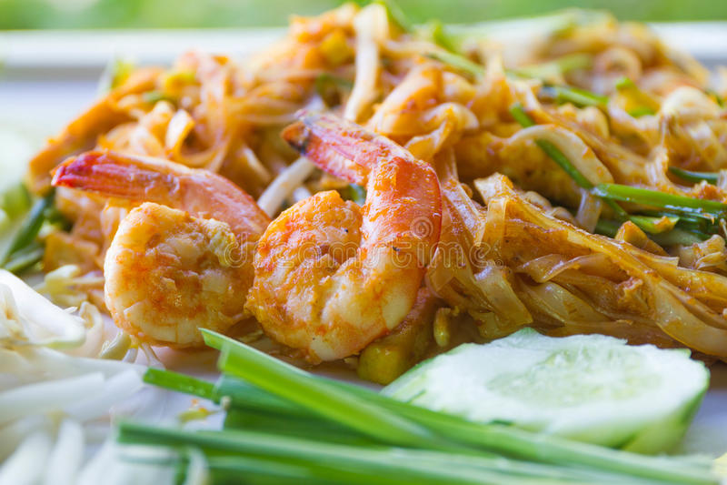 Thais Fried Noodles, Thais voedselstootkussen Thai royalty-vrije stock foto