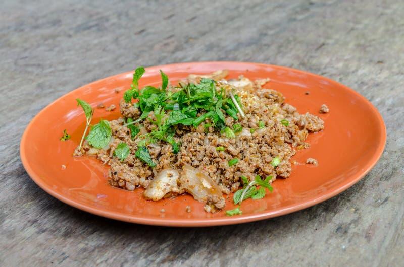 Thais Fried Spicy Minced Pork royalty-vrije stock foto