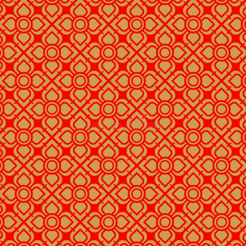 Thais gouden en rood bloem uitstekend patroon vector illustratie