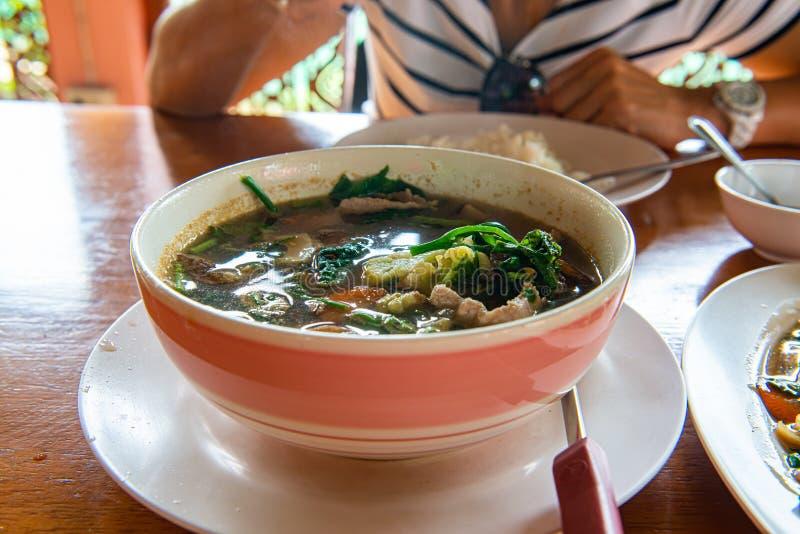 Thais kruidig gemengd groentesoep of Kang Liang in de kom royalty-vrije stock foto