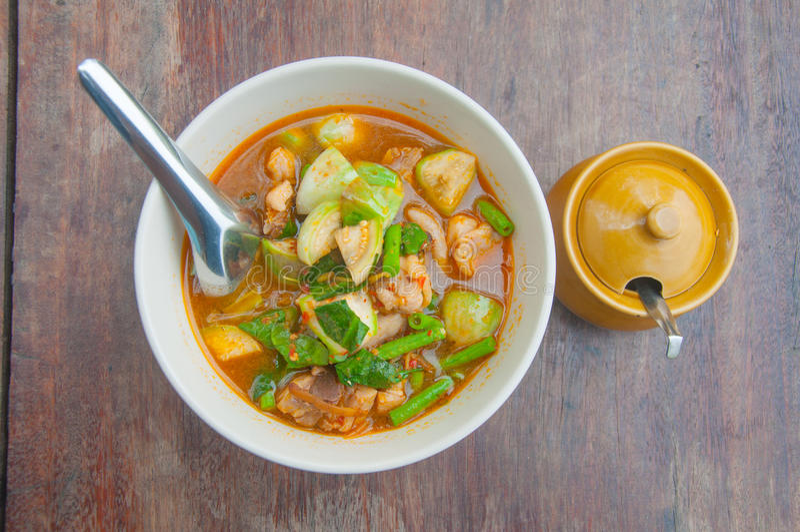 Thais kruidig kerrie-vegetarisch voedsel stock foto