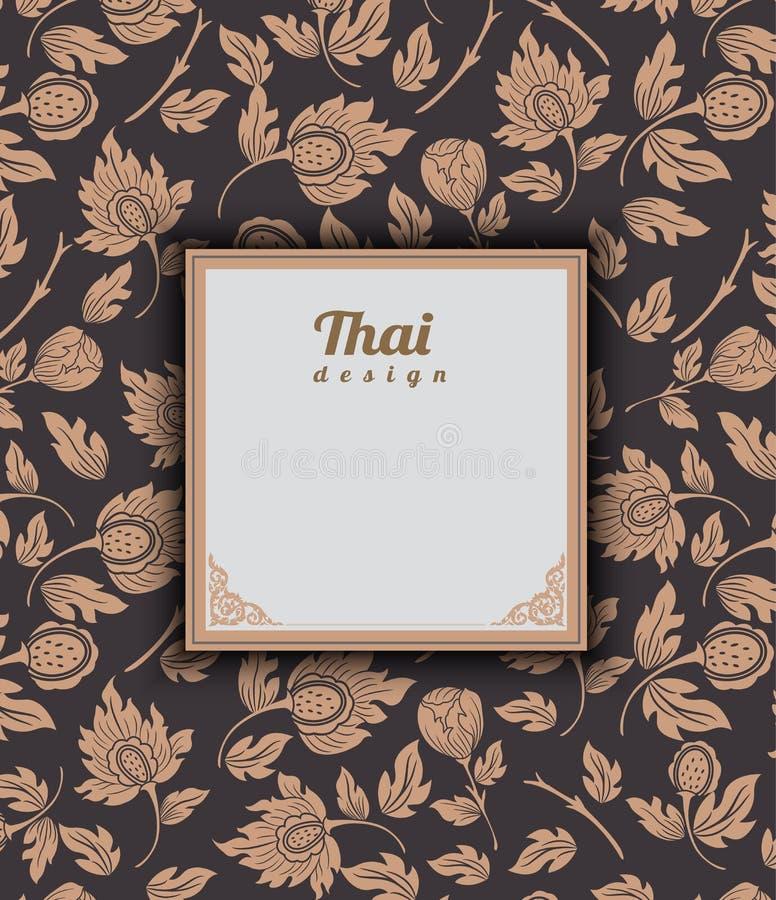 Thais kunstpatroon op bruine achtergrond, bloemstijl, Thais patroon royalty-vrije illustratie