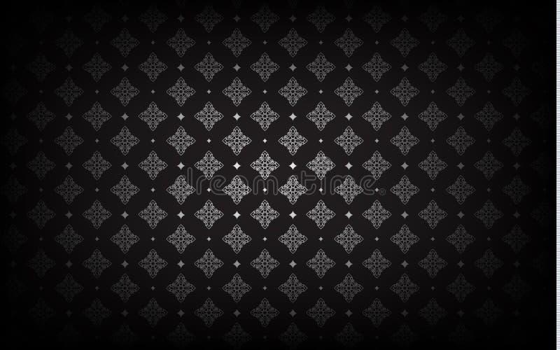 Thais kunstpatroon op zwarte achtergrond Vector royalty-vrije illustratie