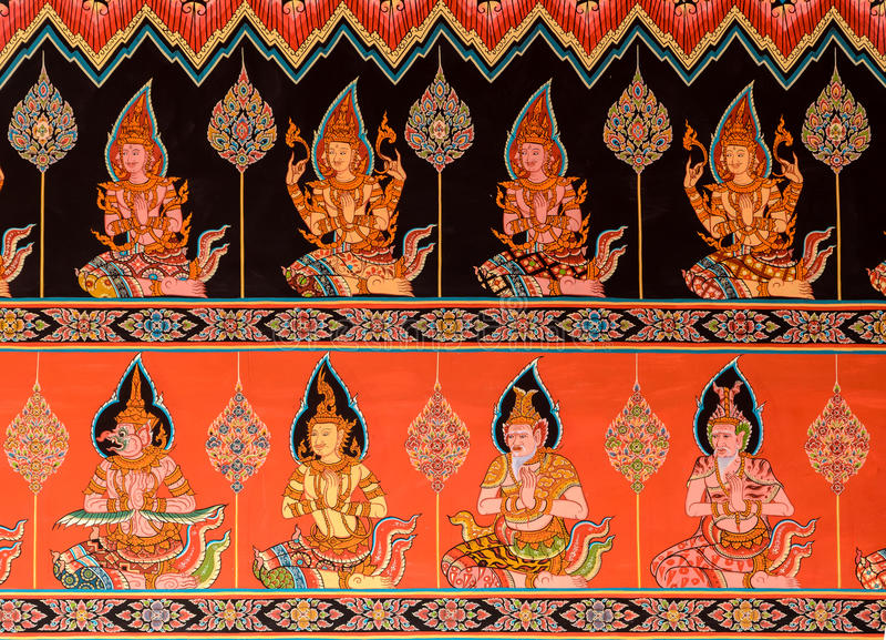 Thais muurschildering het schilderen art. stock fotografie