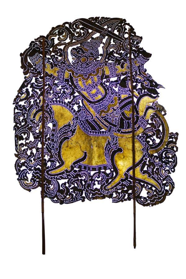 Thais oud schaduwspel, de karakters van de Schaduwmarionet van Ramakien Ramayana: Aapleger door Hanuman wordt geleid die royalty-vrije stock afbeeldingen