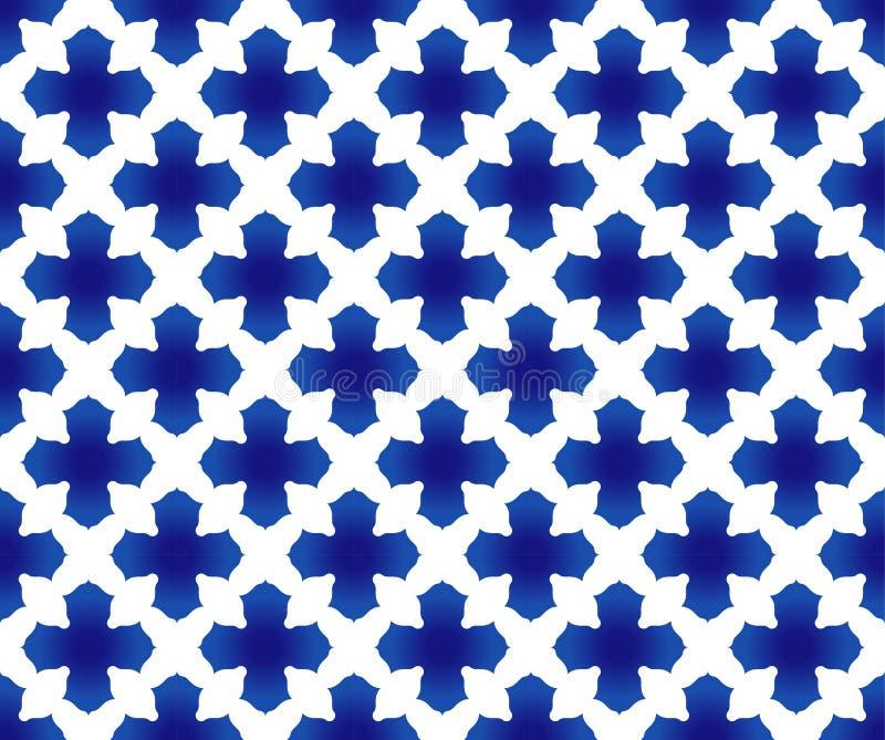 Thais patroonblauw en wit stock illustratie
