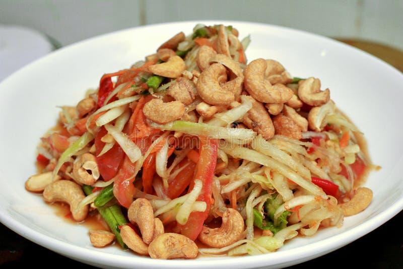 Thais populair recept, Kruidige en zure gemengde plantaardige salade met p royalty-vrije stock foto's