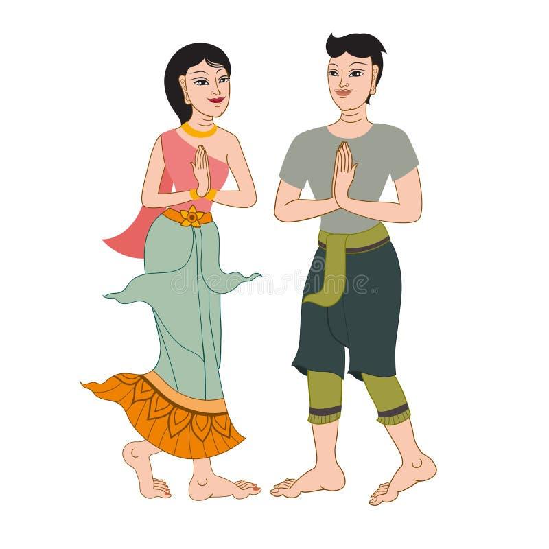 Thais traditioneel Beeldverhaalkarakter stock foto