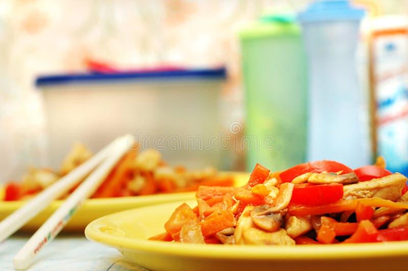 Thais voedsel - beweeg gebraden gerecht #1 stock afbeelding