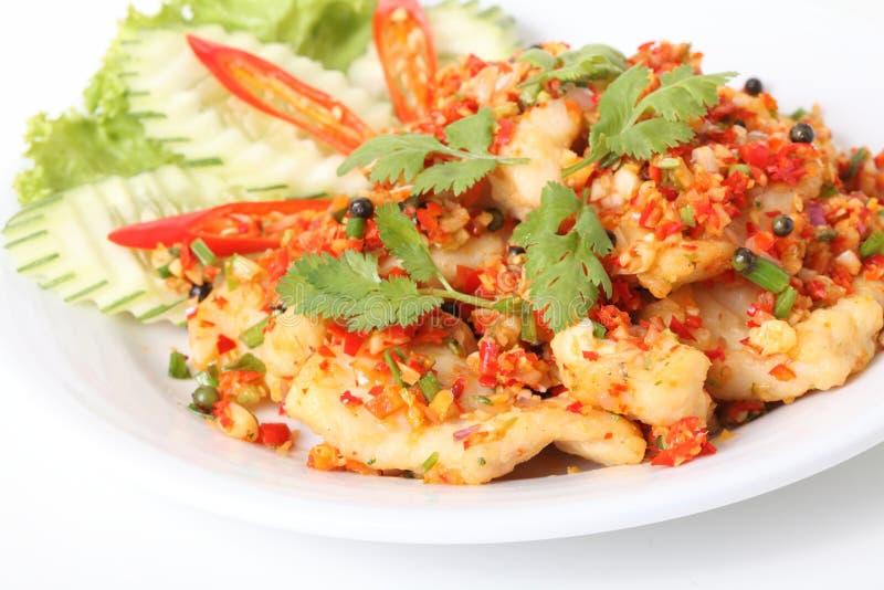 Thais voedsel, de brand van de vissenspaanse peper stock afbeelding