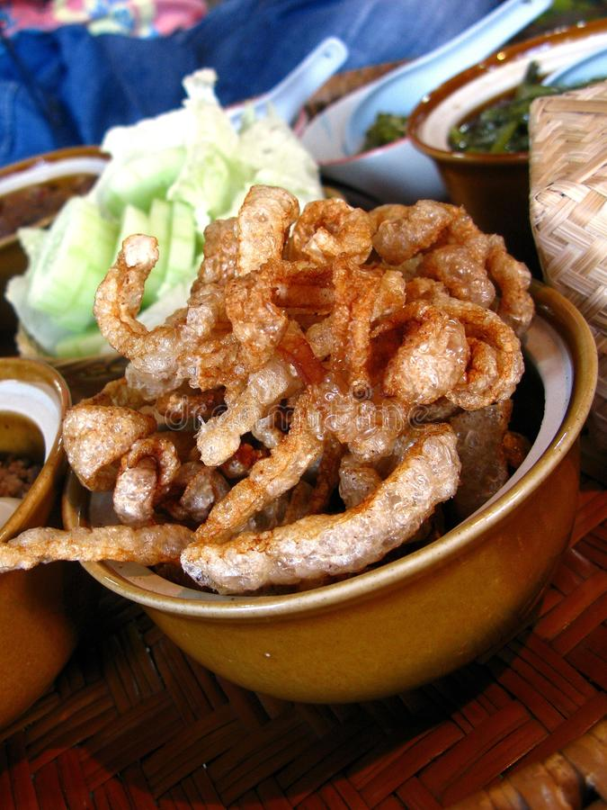 Thais Voedsel: Fried Pig Skins (Cabinemoo) royalty-vrije stock foto