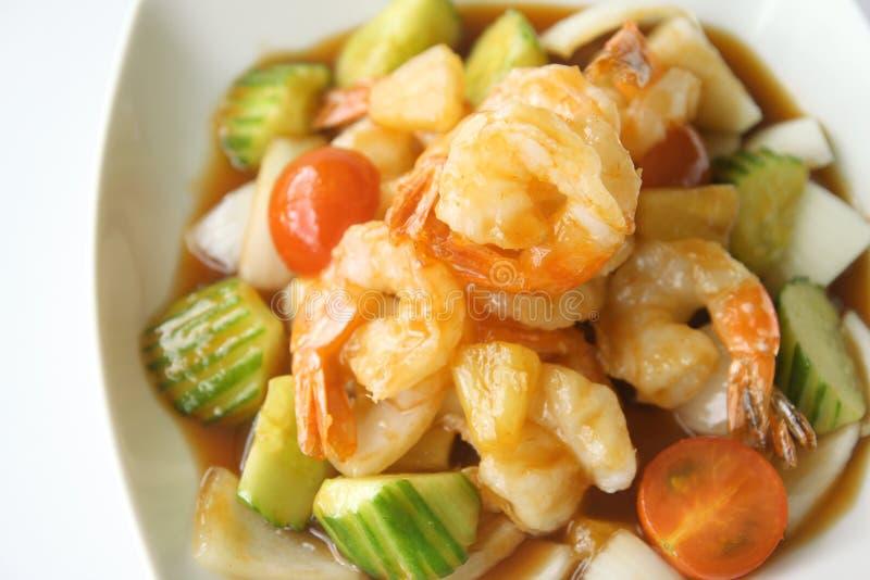 Thais voedsel, garnaal Sweet&Sour. royalty-vrije stock foto's