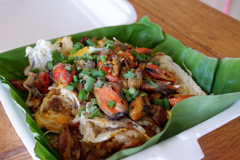 Thais voedsel, gebraden oesters stock afbeeldingen