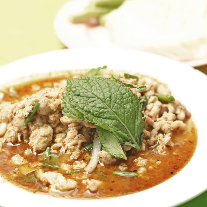 Thais voedsel, gehakt kruidige salade royalty-vrije stock afbeelding