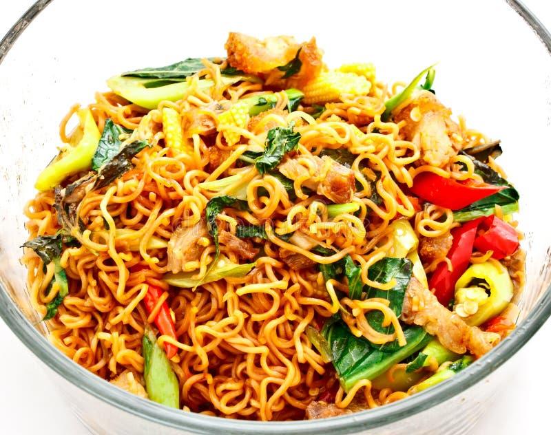 Thais voedsel, kruidige gebraden noedel met varkensvlees 1 royalty-vrije stock afbeelding