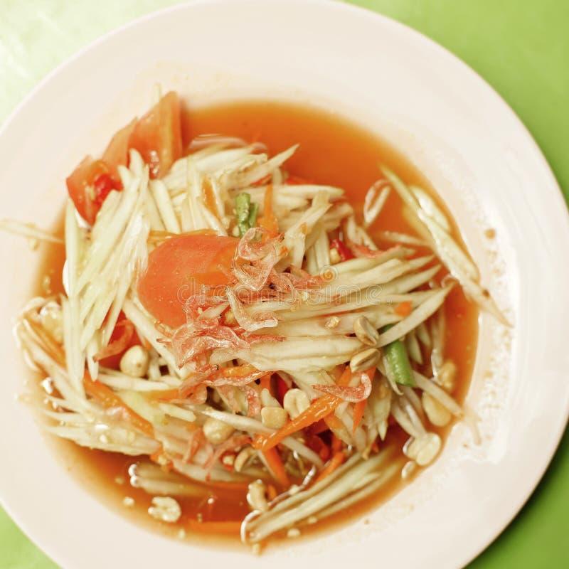 Thais voedsel, papajasalade of som -som-tam royalty-vrije stock foto's