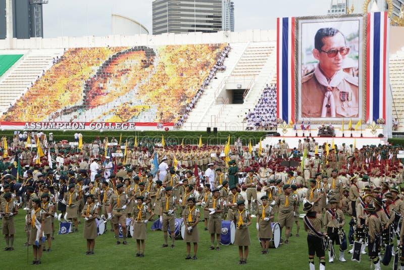 ThaiScout誓言仪式,游行乐队 免版税库存图片