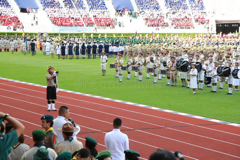 Parade of Scouts National Foundation Day. Thaiscout bugle reviewing the ceremonial oath And a parade of Scouts from the Boy Scout. Ordinary and extraordinary of royalty free stock photos