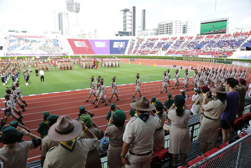 thaiscouts ståtar royaltyfri fotografi
