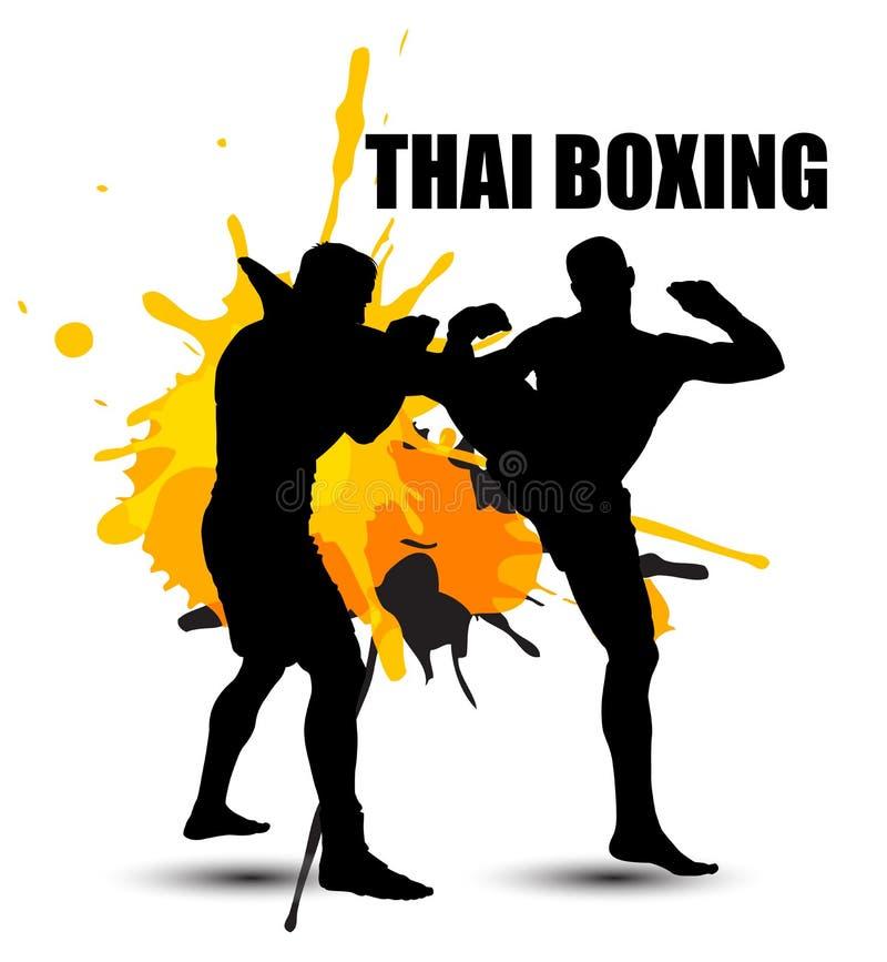 Thaise bokser die zich met grafische grunge bevinden vector illustratie